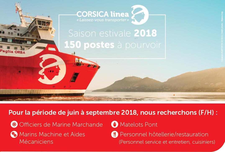 CORSICA linea recrute des officiers, des marins, des professionnels de l'hôtellerie